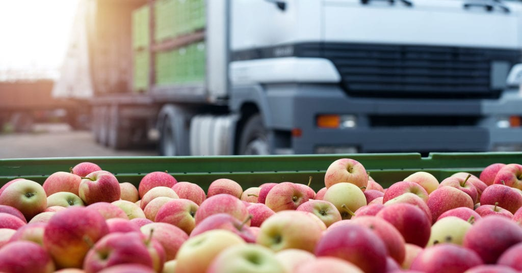Apples ready to be loaded onto truck