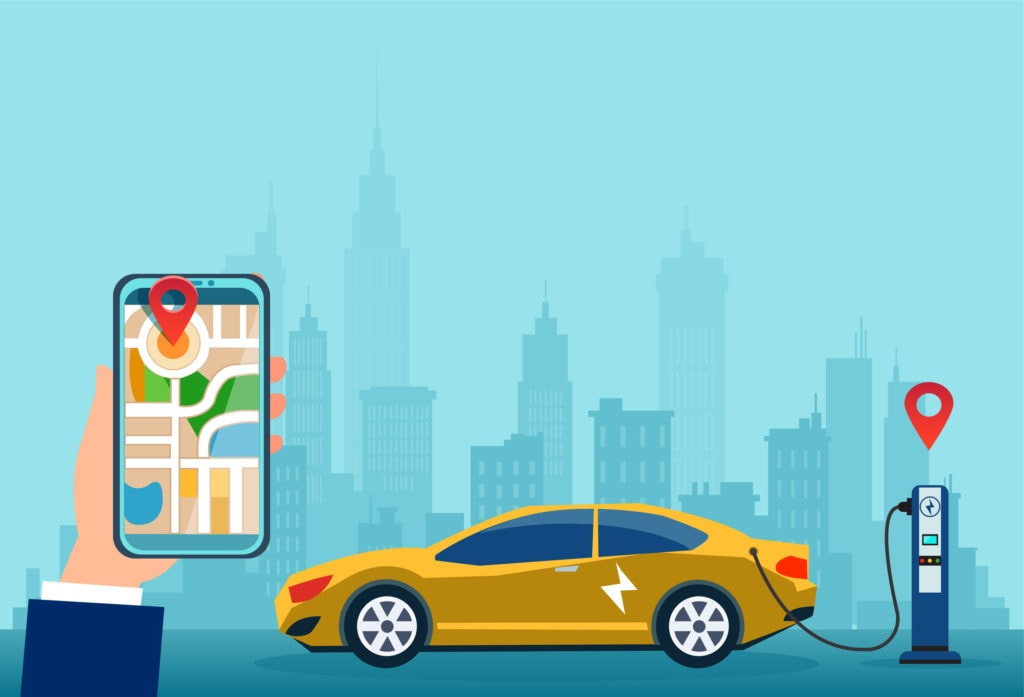 Illustration of an electric vehicle at charging station and smartphone telematics app