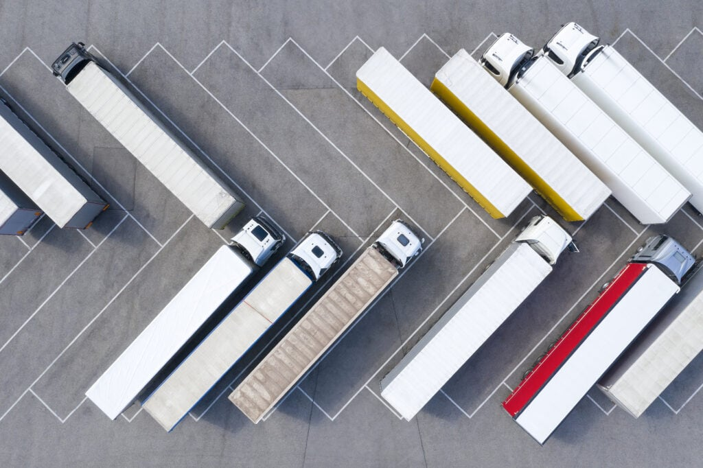 Tractor-trailers at a truck stop
