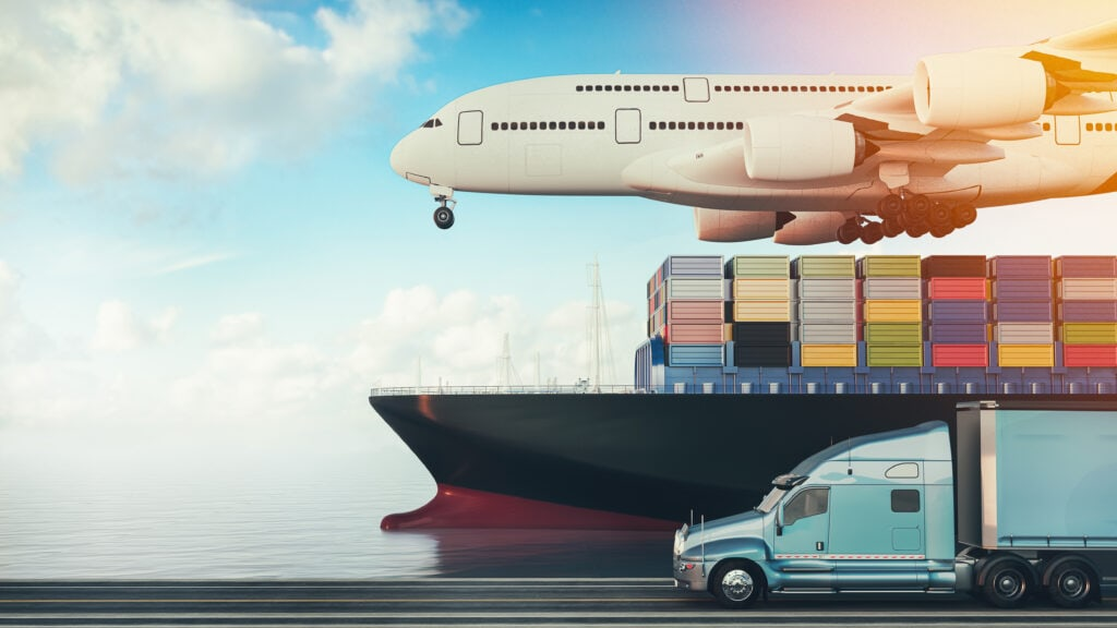 Rendering of tractor-trailer, container ship and plane to suggest global shipping
