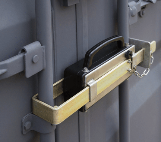 A container lock being used on a shipment to protect and monitor supply chain